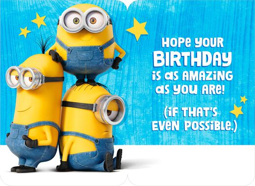 Mind Blowing Minions Birthday Card With Stickers