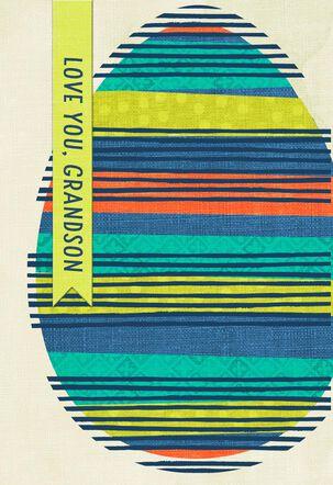 Striped Egg  Easter Card for Grandson