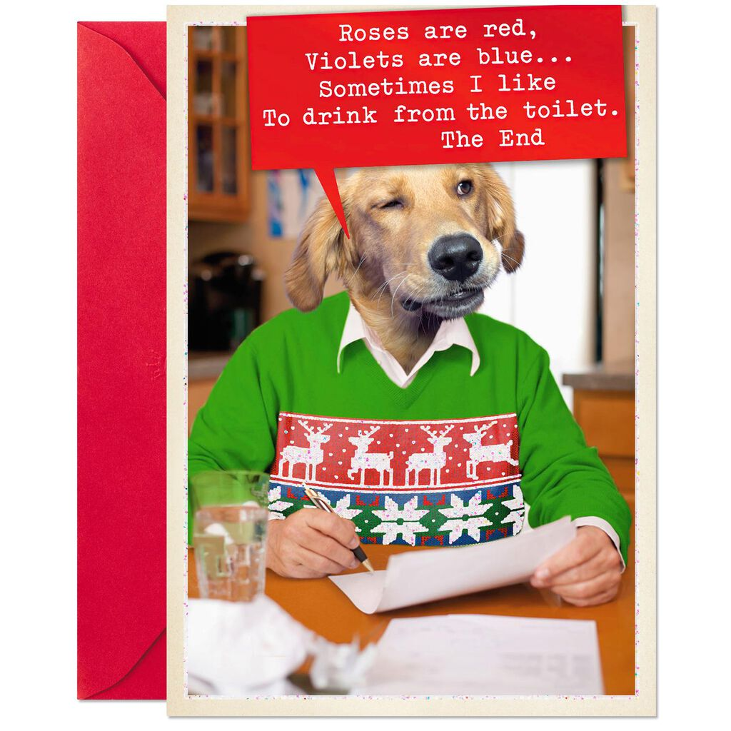 cadca893cf57 Dog Wearing Holiday Sweater Funny Christmas Card - Greeting Cards ...