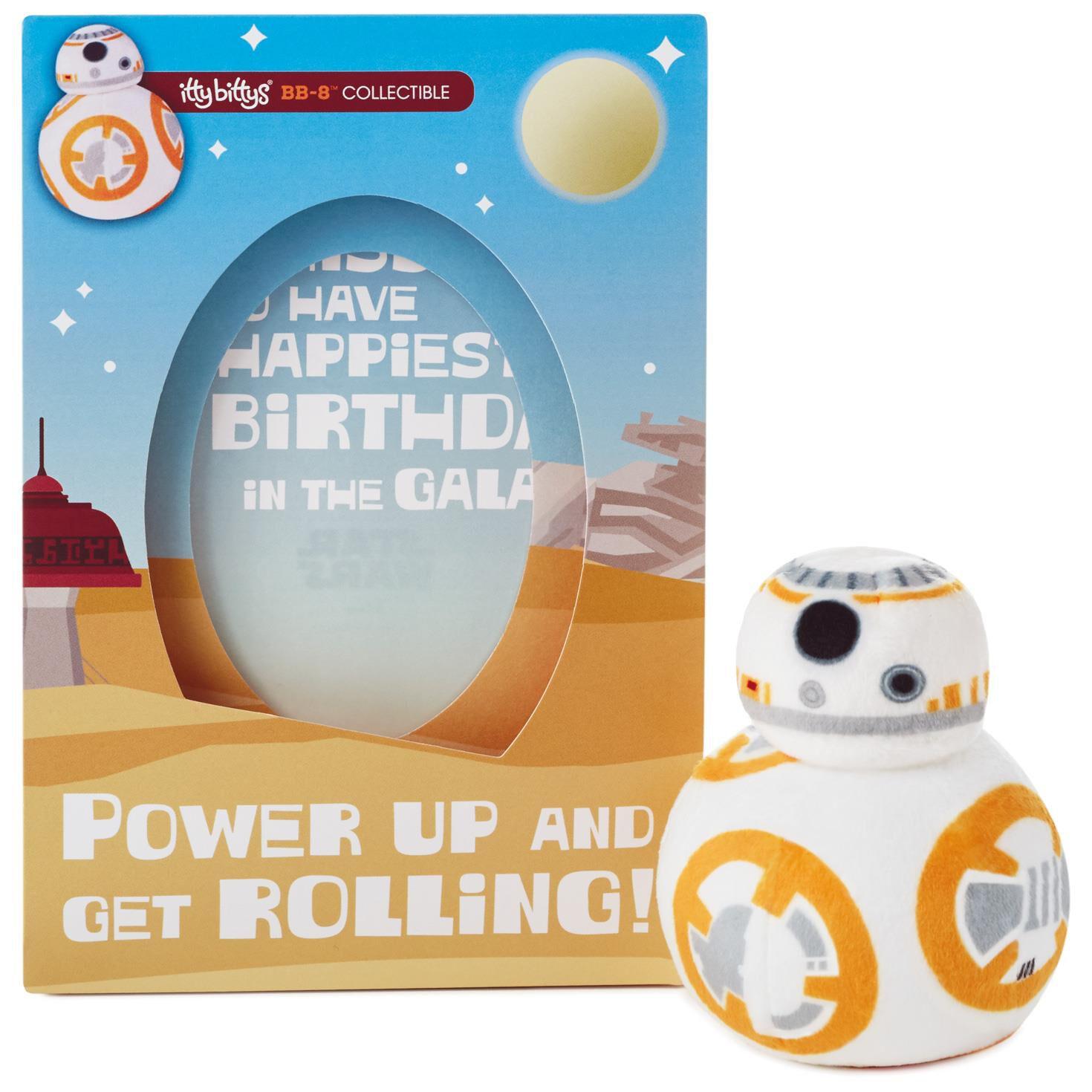 itty bittysstar wars™ bb 8™ birthday card with stuffed animal
