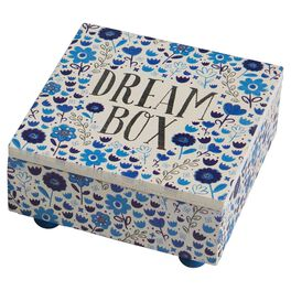 Natural Life Floral Blue Dream Wooden Box, , large