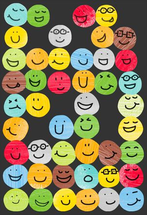 Bright Smiley Face Pattern Blank Card