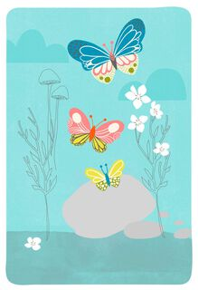 Butterflies and Pebbles Blank Card,