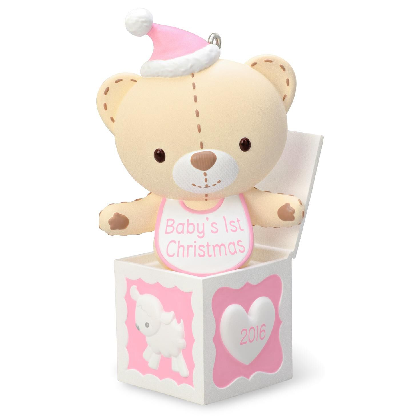Baby ornament - Baby Girl S First Christmas Pink Teddy Bear In The Box Ornament 2016 Edition Sale Hallmark