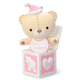 Baby Girl's First Christmas Pink Teddy Bear in the Box Ornament, , large