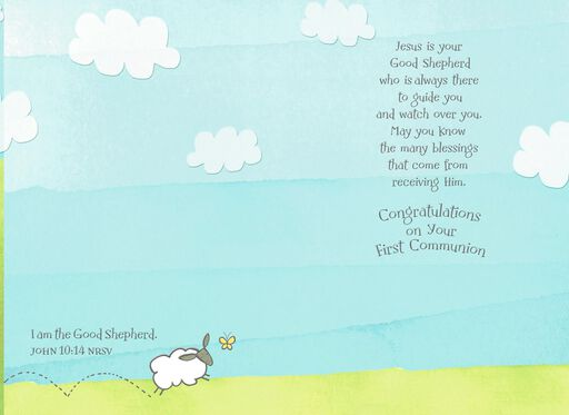 Sheep Grazing in Churchyard First Communion Card for Boy,