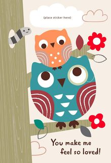 Two Owls Customizable Father's Day Card for Grandpa from Child,