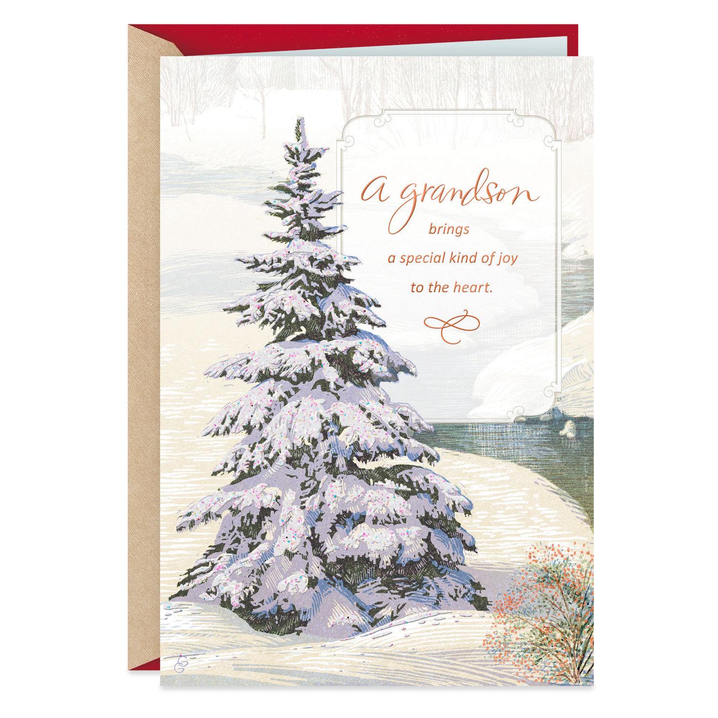 Glistening Evergreen Christmas Card for Grandson