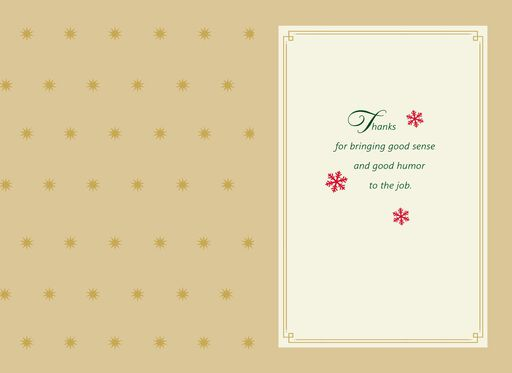 Green Houndstooth Christmas Card for Coworker,
