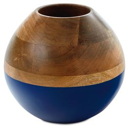 Mango Wood Decorative Bowl with Blue Accent, , large
