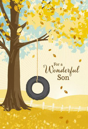 Tire Swing on Tree Birthday Card for Son
