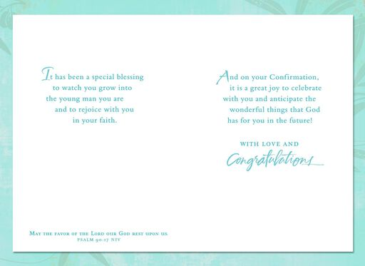 The Favor of the Lord Dove Confirmation Card for Nephew,