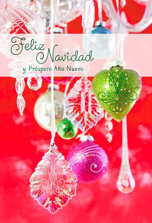 Hanging Ornaments Spanish-Language Christmas Card