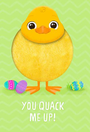 Fuzzy Duckling Quack Me Up Easter Card for Kids