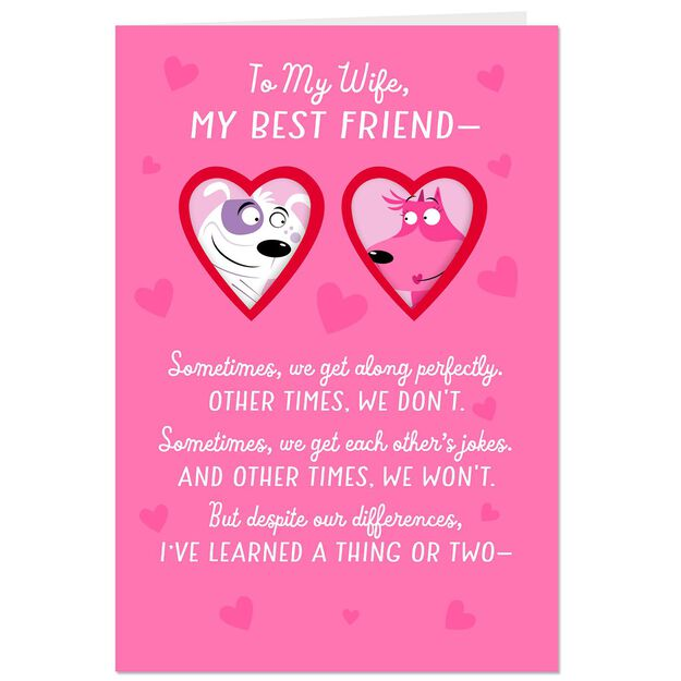 puppy love valentines day card for wife