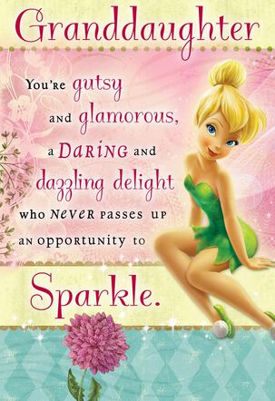 Tinker Bell Birthday Card With Stickers for Granddaughter