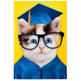 Excited Cat Musical Graduation Card, , large
