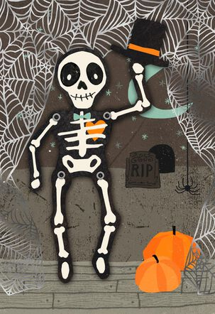 Dancing Skeleton Halloween Love Card