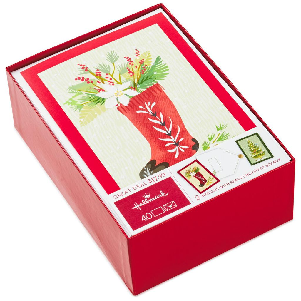 Stocking With Flowers and Tree With Birds Assorted Christmas Cards ...