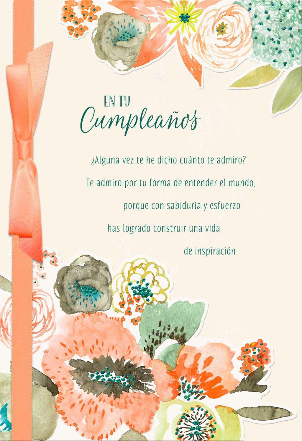 Pastel Flowers Spanish Language Birthday Card