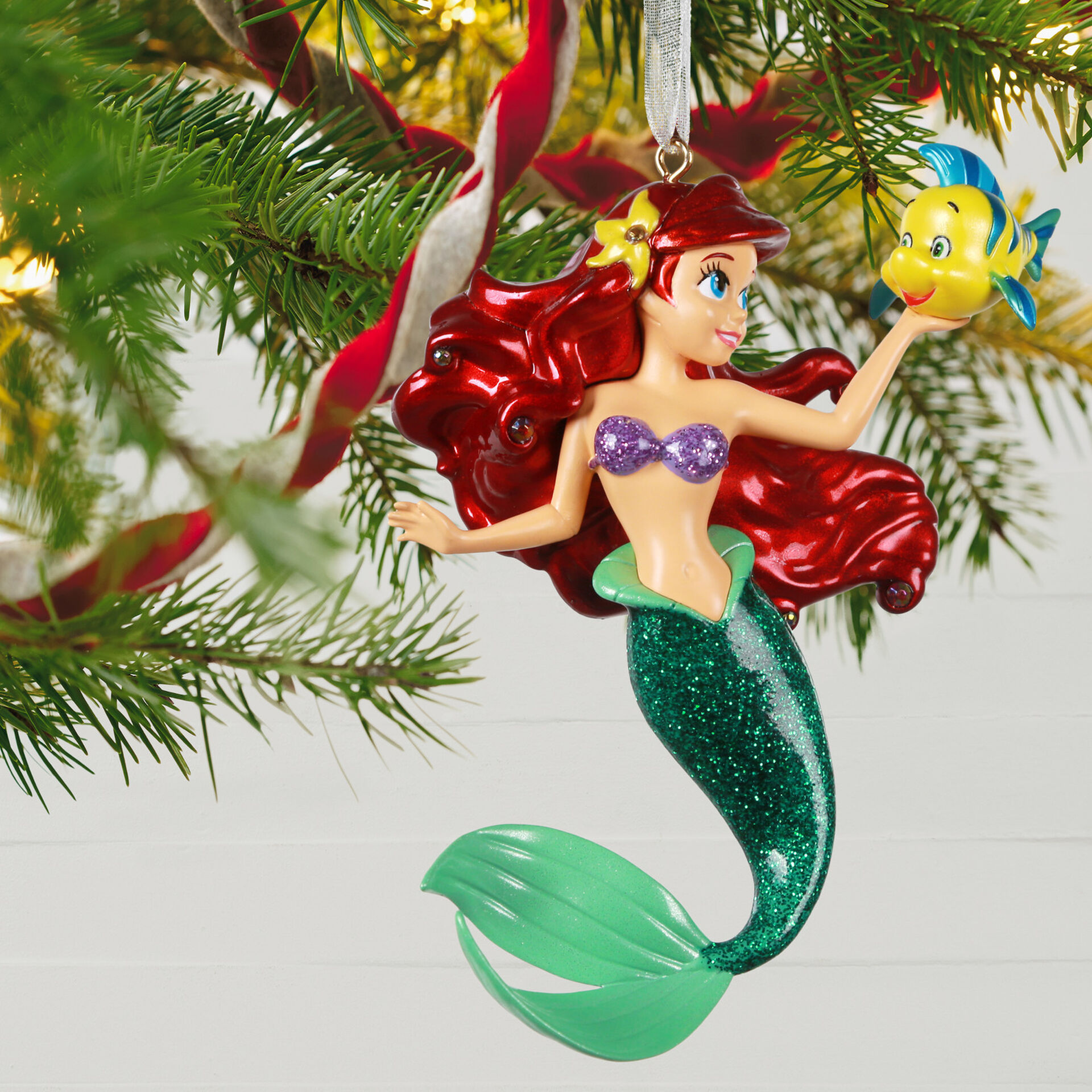 Little Mermaid Ornaments Christmas 2020 Disney The Little Mermaid Ariel and Flounder Metal Ornament