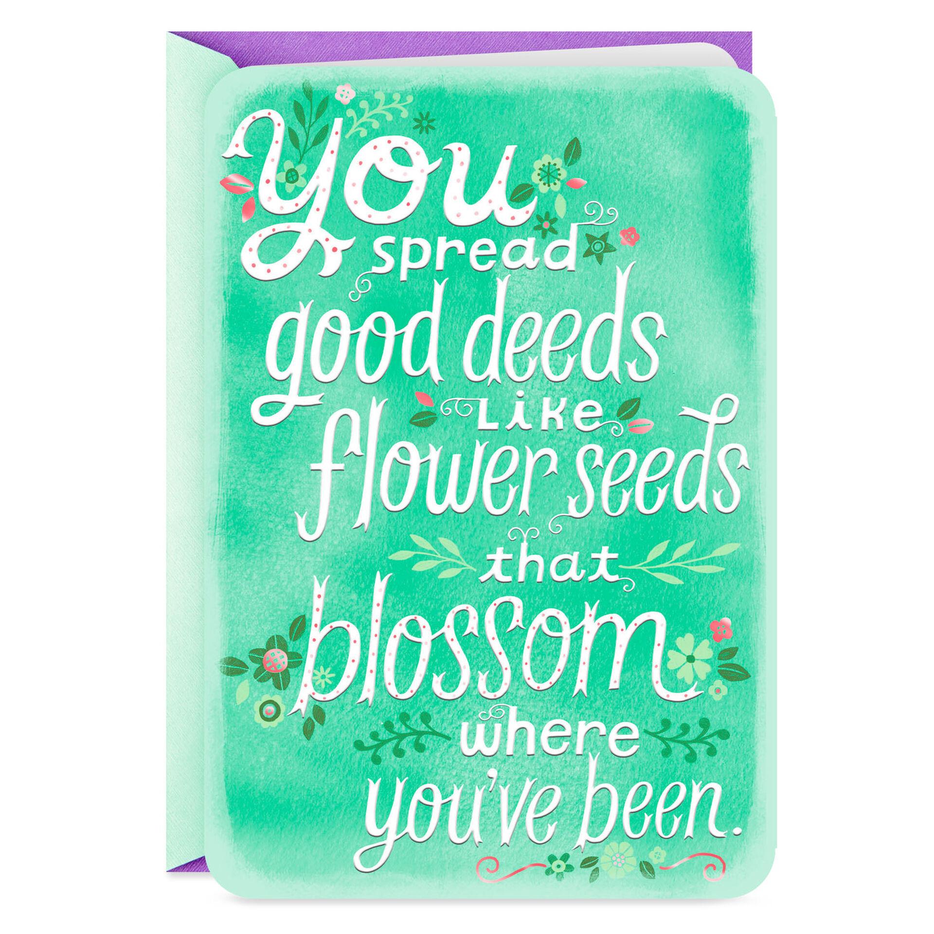 Teacher Thank You Card Floral Foil