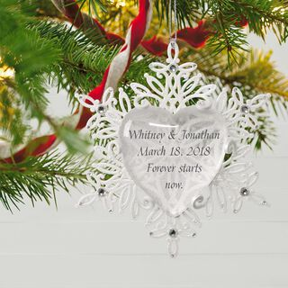 Snowflake Heart Personalized Ornament,