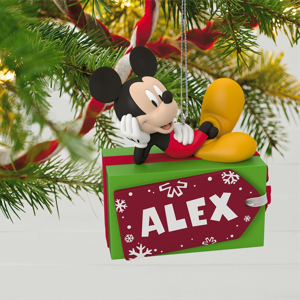 Christmas Ornaments Personalized.Disney Mickey Mouse Christmas Present Personalized Ornament
