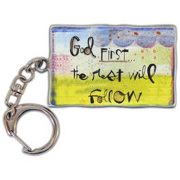 God First Metal Keychain, 2.25x1.5, , large