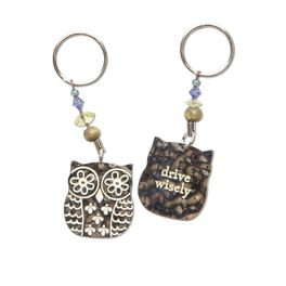 Natural Life Token Keychain Owl/Drive Wisely, , large