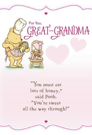 Pooh and Piglet Baking Great-Grandma Valentine's Card