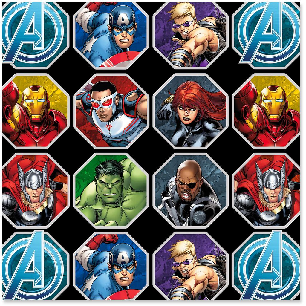 marvel avengers assemble wrapping paper roll 25 sq ft wrapping