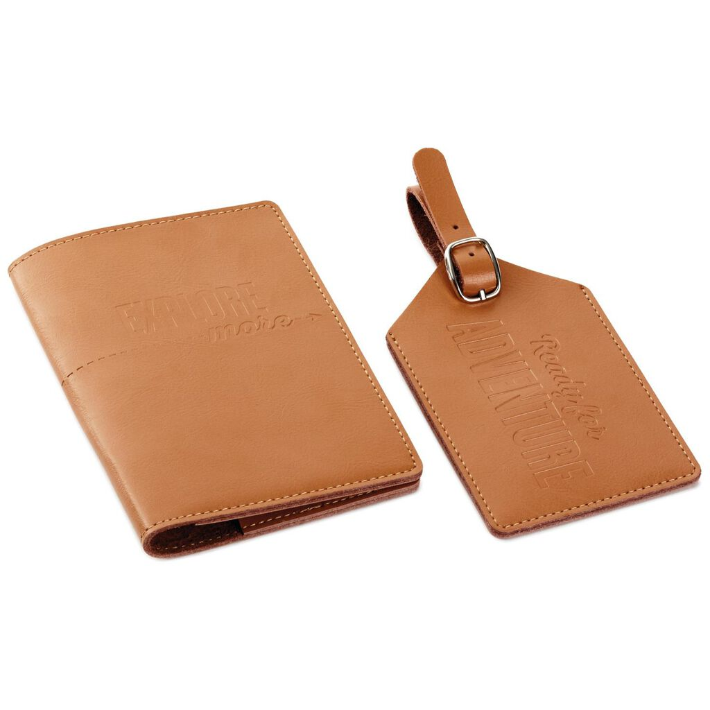 687a078a7 Adventure Leather Passport Holder and Luggage Tag Set - Travel ...