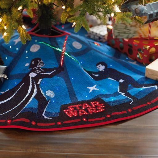 star wars the force is strong tree skirt with light