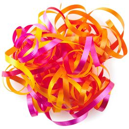Yellow, Hot Pink and Orange Curly Ribbon Gift Bow, , large