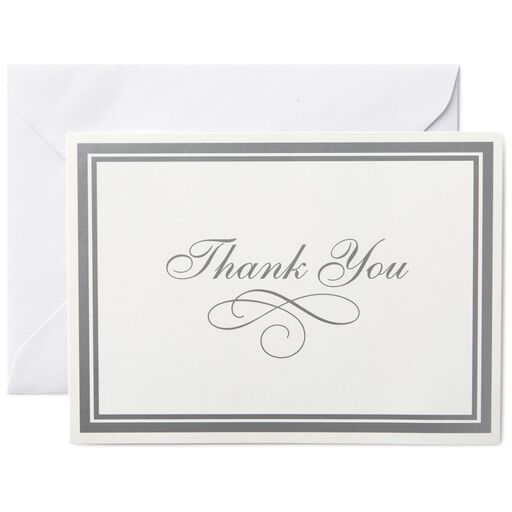 Silver Borders Thank You Notes Box Of 25