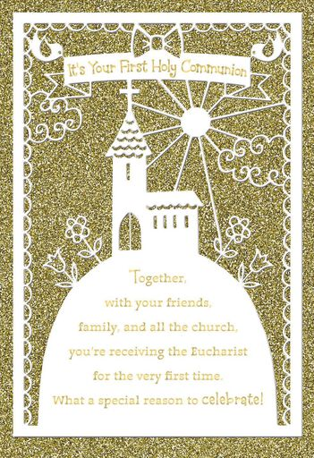 Boy And Girl Receiving The Eucharist First Communion Card Greeting