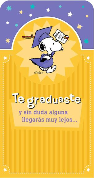 Snoopy in Cap and Gown Peanuts® Spanish-Language Graduation Card