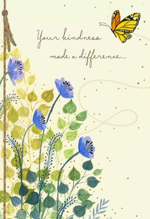 Blue Wildflowers and Butterfly Thank You Card