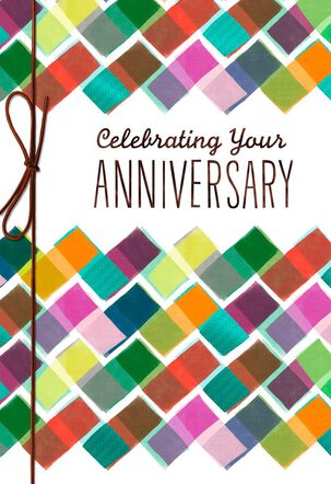 Colorful Block Pattern Anniversary Card