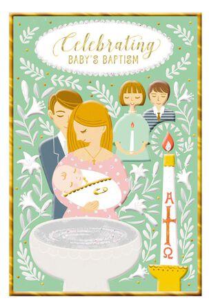 Couple Holding Baby Baptism Card