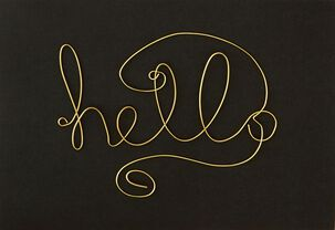 Gold Wire Hello Blank Card