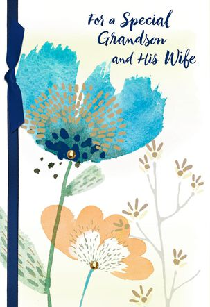Blue Flower Anniversary Card for Grandson and His Wife