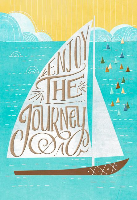 sailboat enjoy the journey religious birthday card greeting cards