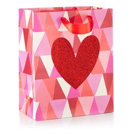 Heart on Geometric Medium Gift Bag, , large