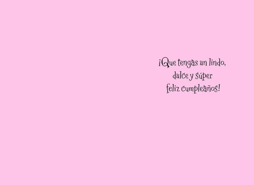 Pink Birthday Cake Spanish Language Birthday Card For Girl