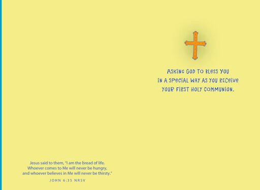 Blue Cross Wrapped in Yellow First Communion Card,