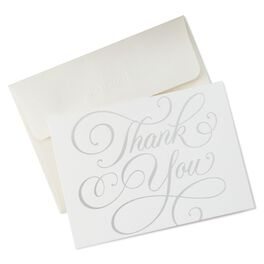 Thank You in Silver Script Thank You Notes, Pack of 10, , large