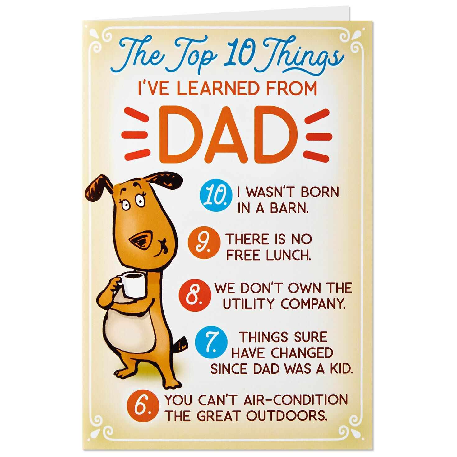 Funny Top 10 Birthday Card For Dad With Button Pin Greeting Cards