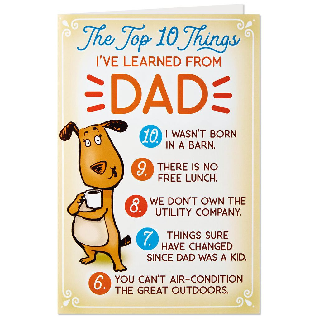 Funny Top 10 Birthday Card For Dad With Button Pin